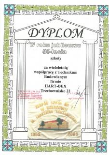 Dyplom za współpracę z Technikum Budowlanym