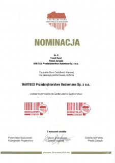 Nominacja do godła Liderów Budownictwa