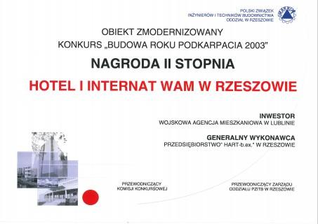 Nagroda za hotel i internat w Rzeszowie