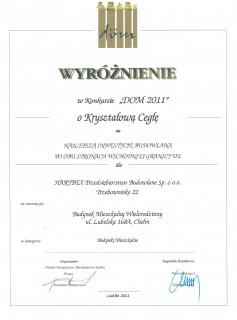Medal za najlepszą inwestycję budowlaną Dom 2011