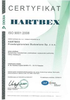Certyfikat ISO 9001:2008 za budownictwo mieszkaniowe, przemysłowe