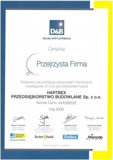 Certyfikat Przejrzysta Firma 2008